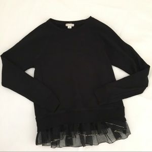 Crewcuts Black Sweatshirt with Tulle and Sequins